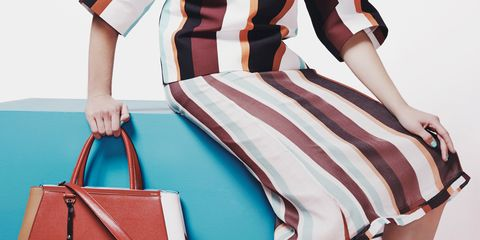 Shoulder, Red, High heels, Bag, Joint, White, Style, Fashion accessory, Pattern, Luggage and bags,