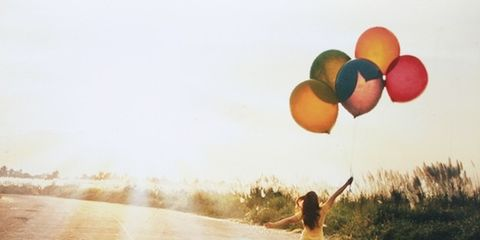 Balloon, People in nature, Sunlight, Party supply, Morning, Walking, Trail,