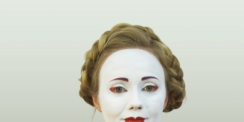 Lip, Mouth, Hairstyle, Sleeve, Eyelash, Neck, Mime artist, Makeover, Lipstick, Necklace,
