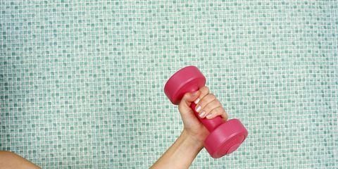 Pink, Magenta, Plastic, Dumbbell, Nail, Peach, Weights, Weightlifting,