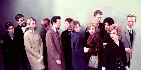 Social group, Coat, Collar, Dress, Purple, Fashion, Vintage clothing, Blazer, One-piece garment, Suit trousers,