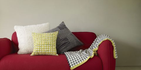 Yellow, Textile, Red, Cushion, Pillow, Throw pillow, Couch, Carmine, Maroon, Living room,