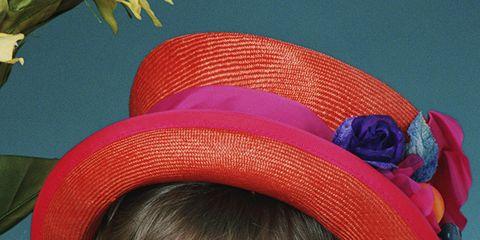 Lip, Happy, Headgear, Iris, Costume accessory, Petal, Fashion accessory, Magenta, Sun hat, Selfie,