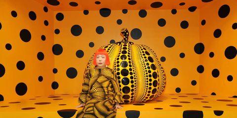 Yellow, Pattern, Orange, Art, Polka dot, Circle, Design, Visual arts, Illustration, Painting,