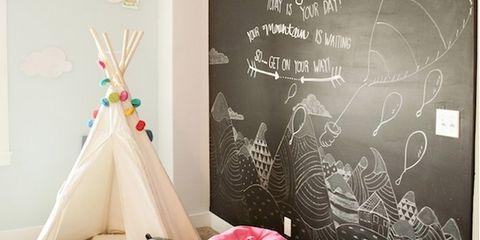 Room, Bean bag, Blackboard, Bean bag chair, Toy, Chalk, Cone, Party supply, Handwriting, Triangle,