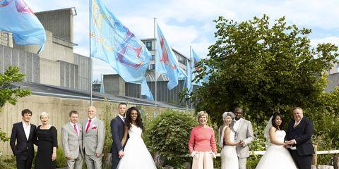 Clothing, Flag, Dress, Coat, Trousers, Event, Bridal clothing, Suit, Photograph, Wedding dress,