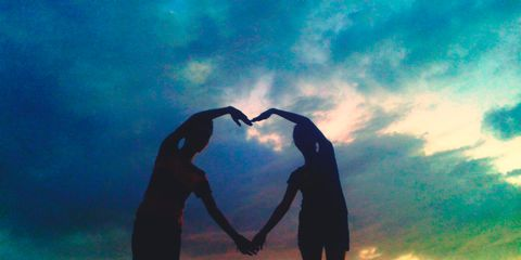 Sky, People in nature, Silhouette, Interaction, Dusk, Sunset, Backlighting, Love, Romance, Friendship,