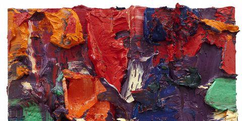 Blue, Yellow, Colorfulness, Orange, Red, Art paint, Paint, Art, Modern art, Artwork,