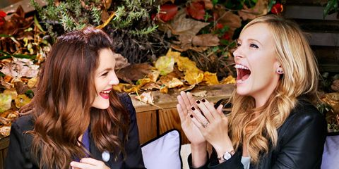 Smile, Mouth, Hand, Leaf, Happy, People in nature, Sharing, Fashion accessory, Tooth, Brown hair,