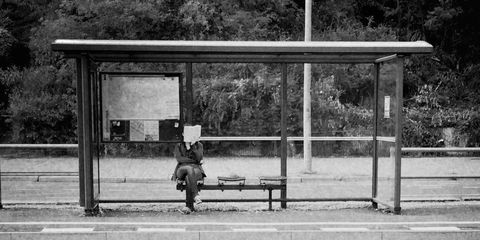 Public space, Monochrome, City, Bench, Black-and-white, Monochrome photography, Black, Outdoor furniture, Parallel, Shade,
