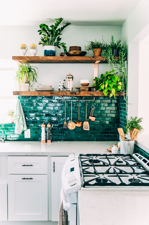 Green, White, Kitchen, Room, Furniture, Turquoise, Wall, Countertop, Interior design, Home,
