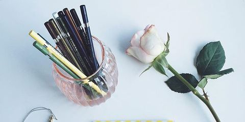 Pink, Cosmetics, Dishware, Peach, Artificial flower, Silver, Bud, Still life photography, Kitchen utensil, Rose,