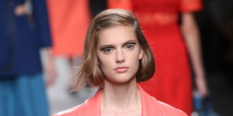 Sleeve, Shoulder, Red, Fashion show, Fashion model, Style, Eyelash, Fashion, Street fashion, Lipstick,