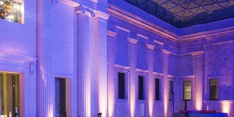 Hall, Purple, Crowd, Violet, Function hall, Convention, Audience, Column, Convention center, Auditorium,