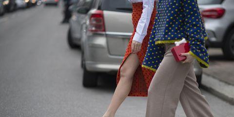 Human leg, Shoe, Road surface, Style, Street fashion, Bag, Asphalt, Street, High heels, Carmine,