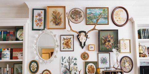 Interior design, Room, Picture frame, Flowerpot, Interior design, Shelving, Collection, Shelf, Houseplant, Home,