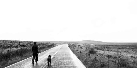 Human, Road, Carnivore, Monochrome photography, People in nature, Monochrome, Plain, Dog, Black-and-white, Walking,