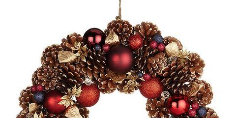 Christmas decoration, Wreath, Art, Natural material, Ornament, Christmas ornament, Circle, Craft, Creative arts, Bead,