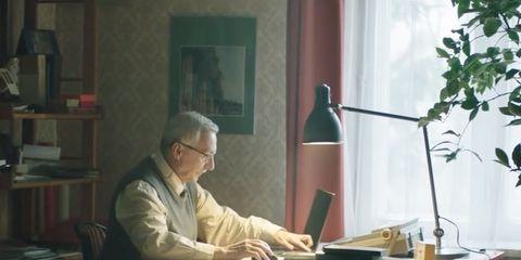 Table, Sitting, Furniture, Carnivore, Shelf, Shelving, Desk, Writing desk, Dog, Picture frame,