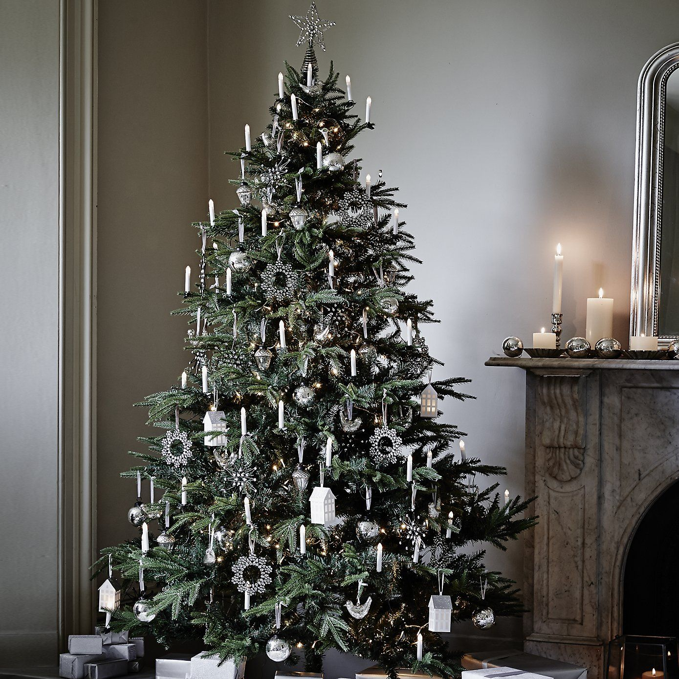 Frosted Christmas Tree Decorations  Thwwhitecompany White Silver Decorations Christmas Festive Living Room Red Online