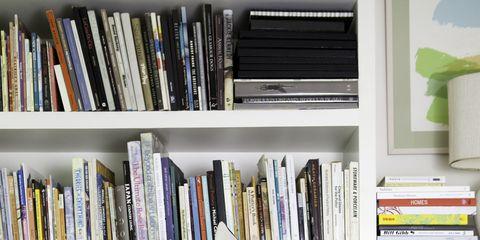 Shelf, Room, Shelving, Bookcase, Publication, Interior design, Carmine, Costume accessory, Book, Home,