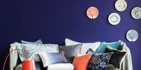 Blue, Textile, Room, Furniture, Interior design, Living room, Pillow, Throw pillow, Cushion, Home,