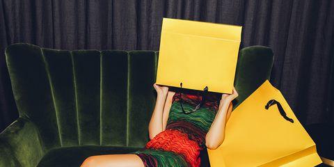 Leg, Yellow, Human leg, Dress, Knee, High heels, Paper product, Calf, Foot, Paper,