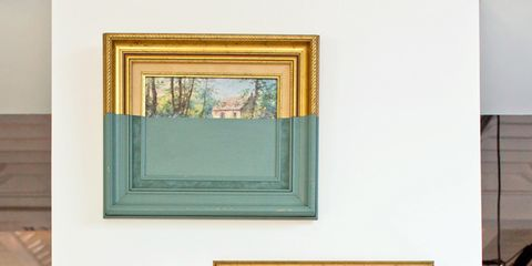 Yellow, Wall, Interior design, Room, Paint, Interior design, Picture frame, Rectangle, Visual arts, Collection,