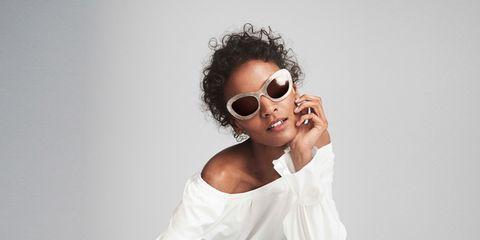 White, Eyewear, Shoulder, Cool, Clothing, Joint, Fashion, Sitting, Glasses, Photo shoot,