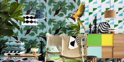 Green, Room, Interior design, Pattern, Pollinator, Interior design, Teal, Turquoise, Feather, Insect,