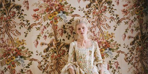 Textile, Dress, Peach, Petal, Vintage clothing, Pattern, Victorian fashion, Day dress, Gown, Creative arts,