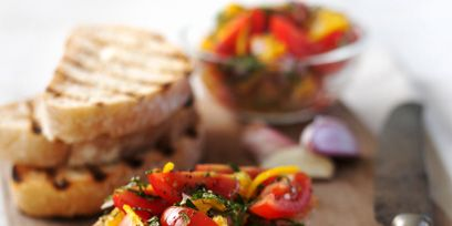 Food, Finger food, Ingredient, Bruschetta, Cuisine, Kitchen knife, Cutting board, Baked goods, Breakfast, Recipe,