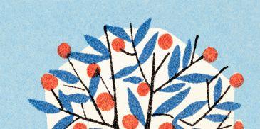 Branch, Twig, Leaf, Art, Botany, Woody plant, Majorelle blue, Pattern, Paint, Modern art,