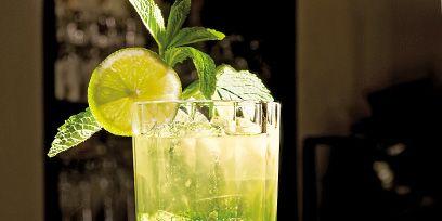 Green, Drink, Alcoholic beverage, Citrus, Classic cocktail, Cocktail, Lemon, Distilled beverage, Cocktail garnish, Ingredient,