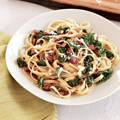 fettuccine with bacon and kale recipe