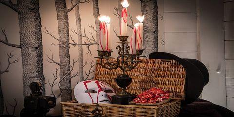 Lighting, Interior design, Basket, Interior design, Candle, Candle holder, Storage basket, Wicker, Still life photography, Home accessories,