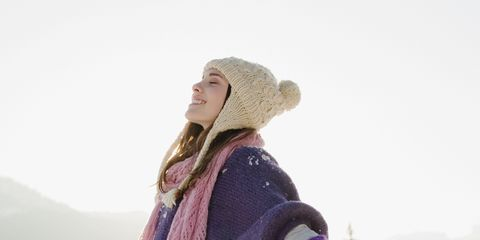 Winter, Sleeve, Jeans, Textile, Denim, People in nature, Snow, Jacket, Headgear, Costume accessory,