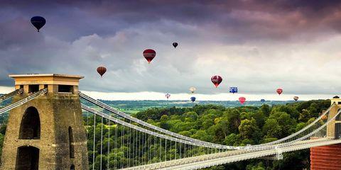 Hot air ballooning, Sky, Daytime, Aerostat, Cloud, Balloon, Bridge, Infrastructure, Transport, Red,