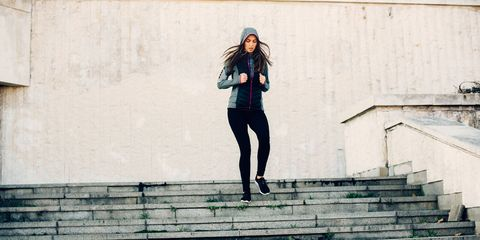 Stairs, Outerwear, Jacket, Wall, Style, Street fashion, Knee, Teal, Snapshot, Active pants,