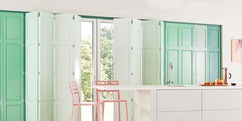 Green, Room, Floor, Property, Interior design, Flooring, Countertop, Wall, Bathroom sink, Line,