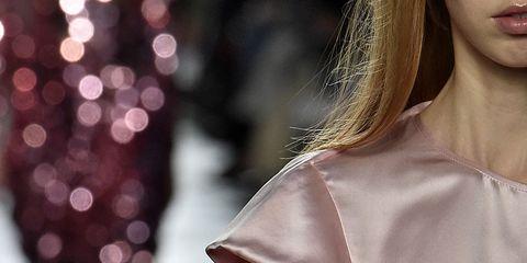 Sleeve, Textile, Street fashion, Fashion, Pattern, Fashion model, Blond, Fashion design, Day dress, Satin,