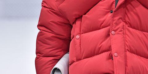 Jacket, Textile, Red, Glove, Carmine, Leather, Pocket, sweatpant, Active pants, Outdoor shoe,