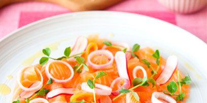Food, Orange, Ingredient, Dishware, Cuisine, Crudo, Produce, Seafood, Garnish, Fish slice,
