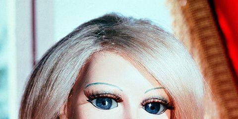 Lip, Hairstyle, Eye, Chin, Forehead, Eyebrow, Toy, Eyelash, Doll, Pink,