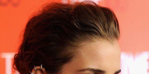 Hair, Ear, Lip, Earrings, Hairstyle, Skin, Chin, Forehead, Shoulder, Eyelash,