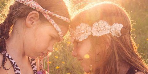 People in nature, Beauty, Friendship, Love, Interaction, Headpiece, Hair accessory, Sunlight, Summer, Headgear,
