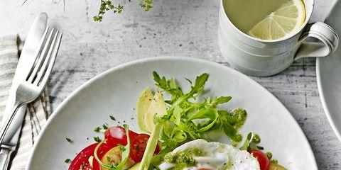 Dish, Food, Cuisine, Salad, Ingredient, Fried egg, Vegetable, Breakfast, Vegetarian food, Produce,