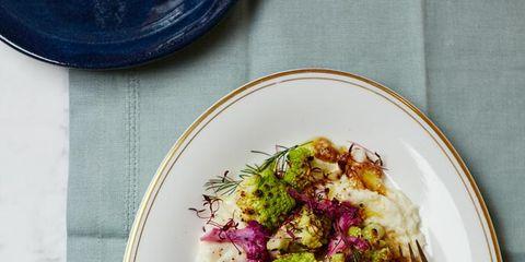 Dishware, Serveware, Food, Plate, Tableware, Leaf vegetable, Recipe, Produce, Magenta, Ingredient,