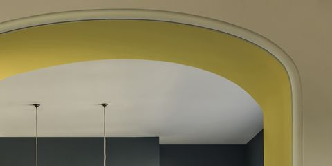 Interior design, Yellow, Room, Floor, White, Furniture, Home, Drawer, Cabinetry, Ceiling,