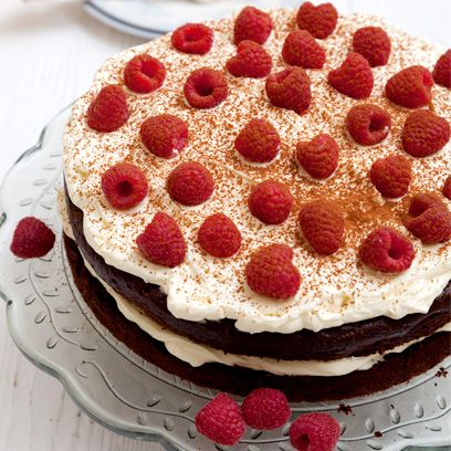 Gluten-free chocolate and raspberry gateau